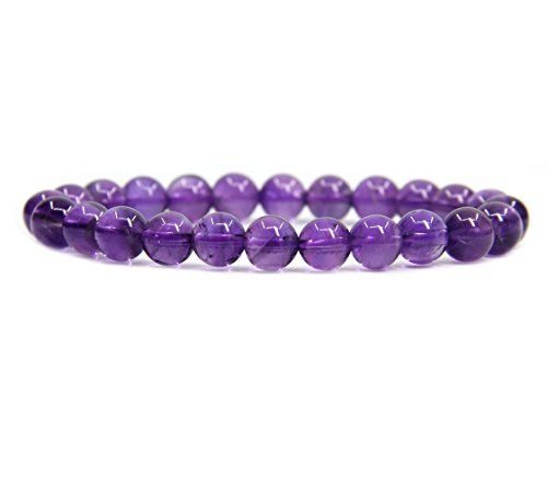 AA Grade Dream Light Amethyst Gemstone 8mm Ball Beads Stretch Bracelet 7