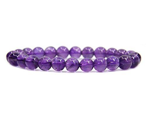 (AA Grade Dream Light Amethyst Gemstone 8mm Ball Beads Stretch Bracelet 7