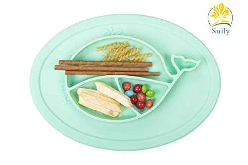Suily Babies Highchair Feeding Tray Round Silicone Suction Placemat for Children, Kids, Toddlers,Kitchen Dining Table with Built in Plate and Bowl,Little Whale (Tiffany Green) by Suily (Image #1)