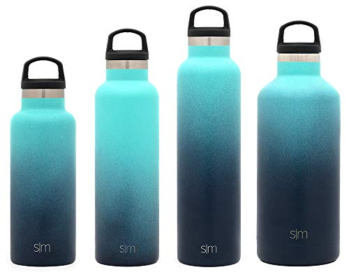 Simple Modern 32oz Ascent Water Bottle - Stainless Steel Hydro Swell Flask w/Handle Lid - Metal Double Wall Vacuum Insulated Reusable Tumbler Aluminum 1 Liter Cold Leak Proof - Bermuda Deep -  ASCF-32-BD