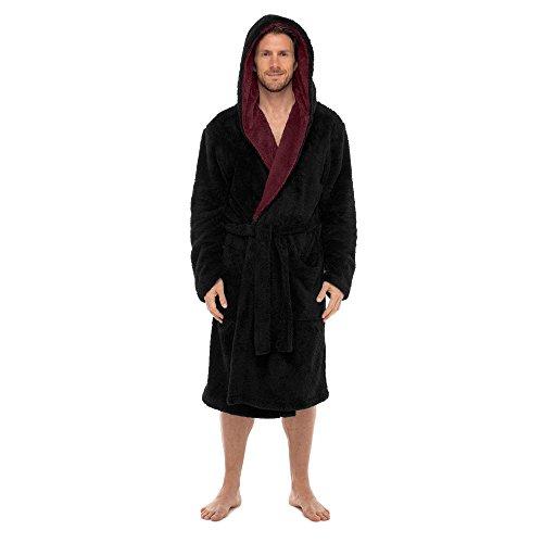 Regency New York Coral Fleece Robe (Large/X-Large, Black Contrast Burgundy -