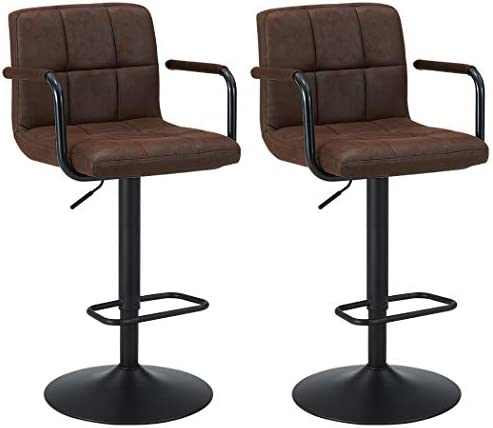 Bar Stool Kitchen Bar stools with Backrest Armrest Set of 2 Duhome WY-451K Bar Chair Dark Brown