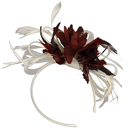 9db3fc8eb9164 White and Burgundy Wine Dark Red Net Hoop Feather Hair Fascinator Headband  Wedding Royal Ascot Races