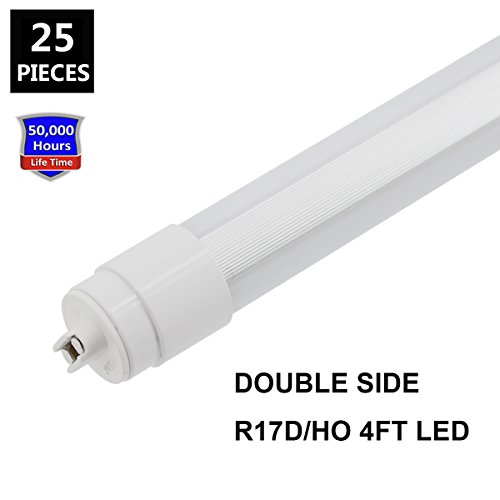 JESLED 360 degree T8 10 T12 R17D/HO led outdoor tubes for double sided signs 6000K Cool White Frosted Cover (25-Pack) by JESLED