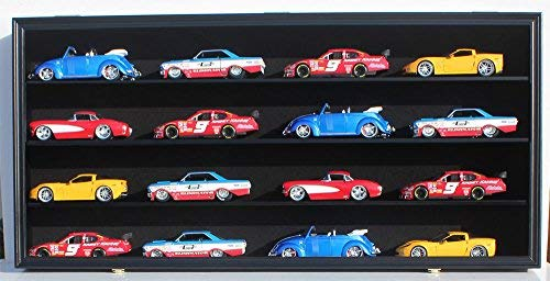 Hot Wheels NASCAR Diecast 1:24 Scale Model Car Display Case O Scale Train Display Case Cabinet Wall Rack, with Door (Black Finish)