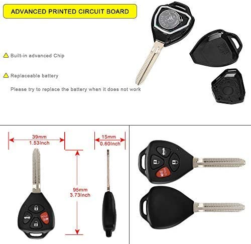 YITAMOTOR Car Key Fob Keyless Entry Remote Control Compatible for/ 2007 2008 2009 2010 Toyota Camry HYQ12BBY 4D-67