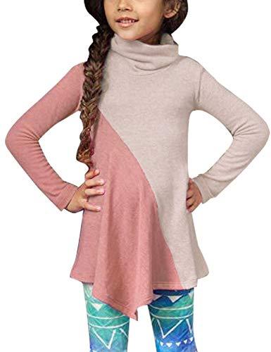 Utyful Girls Long Sleeve Cowl Neck Color Block Asymmetrical Tunic Top Blouse