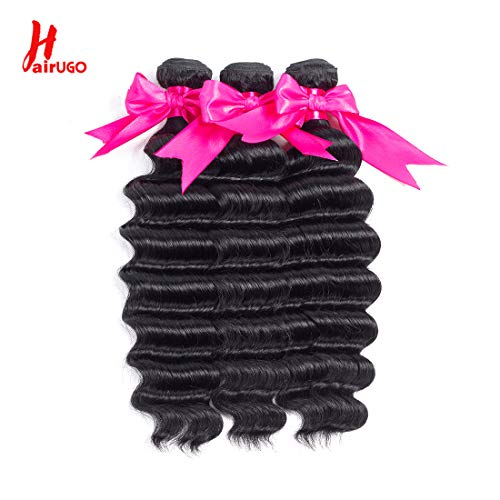 HairUGo Deep Wave Bundles (10 10 10 inch) Braziian Virgin Hair Unprocessed Human Hair 3 Bundles Natural Black Color Hair Extensions ()