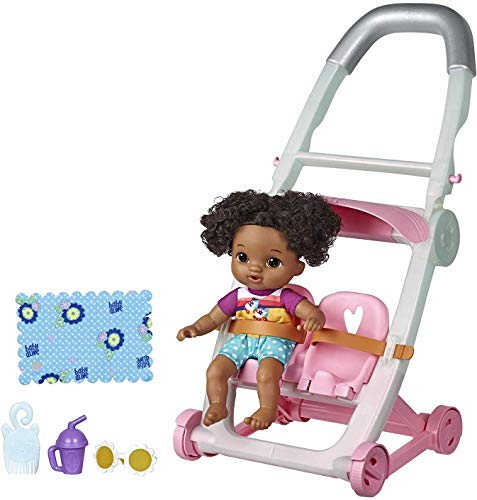 Baby Alive Littles, Push 'N Kick Stroller, Little Lola, Black Hair Doll, Legs Kick, 6 Accessories, Toy for Kids Ages 3 Years Old & Up
