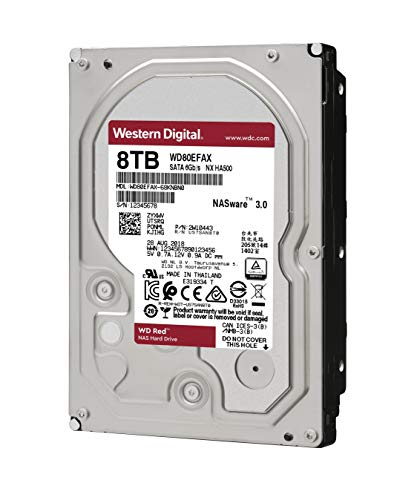 WD Red 8TB NAS Internal Hard Drive - 5400 RPM Class, SATA 6 Gb/s, 256 MB Cache, 3.5'' - WD80EFAX by Western Digital (Image #1)