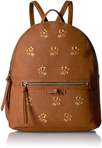 T-Shirt & Jeans Back Pack with Embroidered Flowers, Cognac