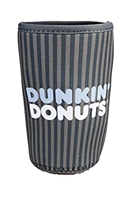 Dunkin Donuts Cup Cooler Gray Strip Medium Fits 24 oz Cold Ice Coffee Holder