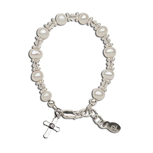 Children's Baptism, Christening Sterling Silver Cross Bracelet with Cultured Pearl and Swarovski Crystal ()