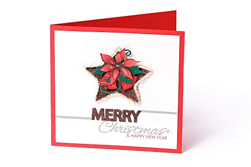 Handmade Merry Christmas and Happy New Year Cards For Friends Relatives Father Mother Sister Brother - Authentic Design - Envelope Included (Merry Christmas - Flower Design - Single Card)