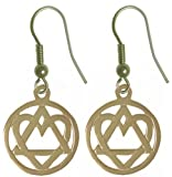 "Alcoholics Anonymous Symbol Earrings, #702-6, Antiqued Brass, AA Symbol w/ Heart ""Love & Service"""