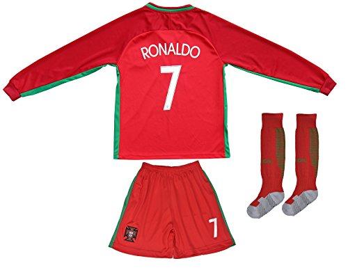 FPF 2015 Portugal Cristiano Ronaldo #7 Home Football Soccer Kids Jersey Short Socks Set Youth Sizes (Short, 10-11 Years Old)