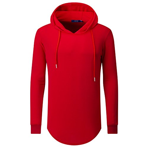 AIYINO+Mens+Hipster+Hip+Hop+Classic+Pullover+Long+Hoodie+Sweatshirts+Jacket+%28US+L%2C+Red%29
