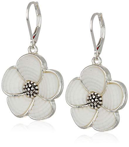 Flower Leverback Earrings - Napier Women's Silver/White Flower Drop leverback Earrings