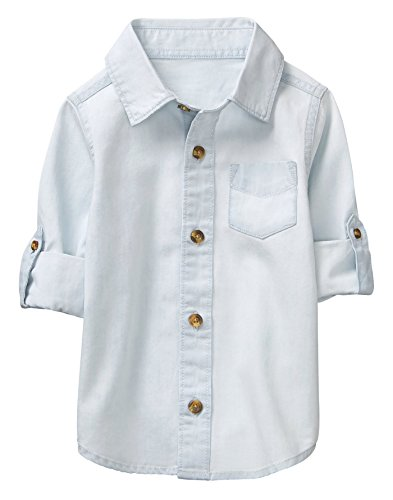 Crazy 8 Toddler Boys' Long Sleeve Adjustable Button Down Woven Shirt, Light Wash Denim, 5T