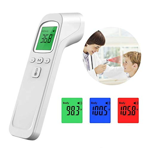 Non-Contact Forehead Scanner Infrared Temperature Measurement 1s Reading LCD Three Colors Backlight Digital Display Ahagogo (White)