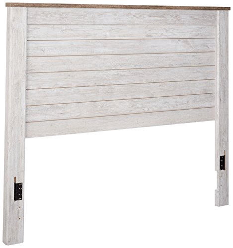 Ashley Furniture Signature Design - Willowton Full Panel Headboard - Contemporary Style - Component Piece - Queen Size - White (Set King Cal Panel Bedroom)