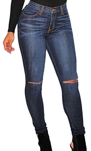 Christmas PEGGYNCO Womens Dark Denim Ripped Knee Skinny Jeans Size M