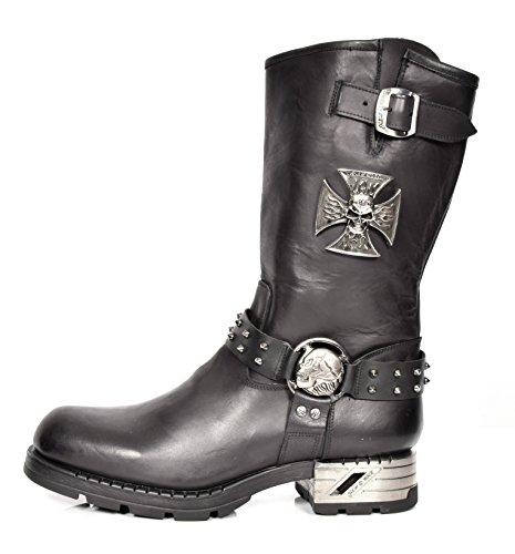 Bottes Motardes En Cuir Noir Pour Hommes New Rock Longueur Du Mollet Harnais Désign Rond Orteil Chaussures - A1030S1 (42 EU)