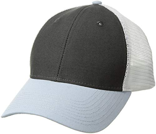 Ouray Sportswear Industrial Canvas Mesh Cap, Grey/White/Blue Steel, Adjustable