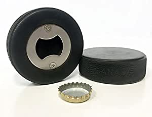 Puck Off opener - Hockey Puck Bottle Opener, Authentic Game Quality Puck, 100% Canadian Made. Unique hockey barware gift for the ultimate fan!