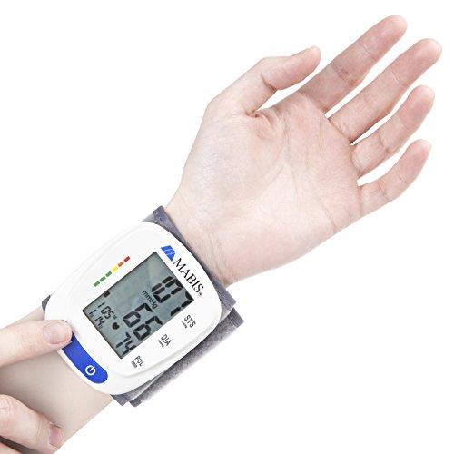 Blood Monitor Wrist Cuff - MABIS Digital Portable Wireless Gauge Pulse, Heartbeat, and High & Pressure