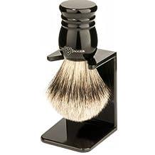Edwin Jagger 9ej256sds Handmade Imitation Ebony Shaving Brush with Drip Stand, Black, Small