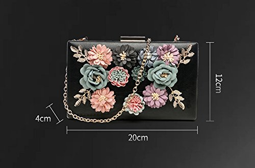 Banquet Rose The Square Korean Package Backpack Bag Version Small Chain of Hand Chain Bag Handbags Bag Bag Hand Flower Beige Color Dinner Bag red Oblique qpzxBEpw
