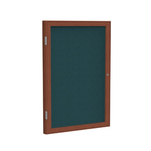Discount 1 Door Enclosed Bulletin Board Size: 3' H x 3' W, Surface Color: Blue, Frame Finish: Cherry for sale