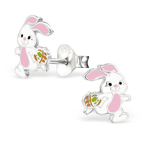 925 Sterling Silver Easter Bunny Stud Earrings 28242