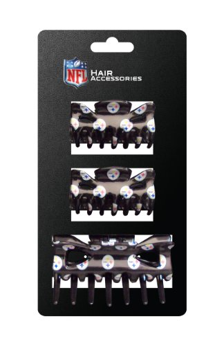 (NFL Pittsburgh Steelers Hair Accessory Plastic Hair Clip (3-Piece))