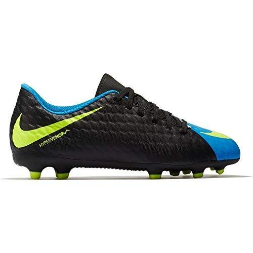 Nike Junior Hypervenom Phade III FG Soccer Cleats - (Black/Volt-Photo Blue) (6 Big Kid M) (Kids Soccer Shoes Nike Hypervenom)