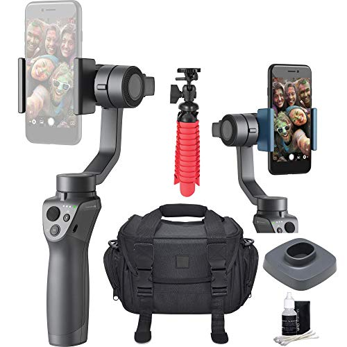 (DJI Osmo 2 Mobile Handheld Smartphone Gimbal Stabilizer Videographer Bundle with Case, Flex Tripod, Base and Lens Maintenance Kit)