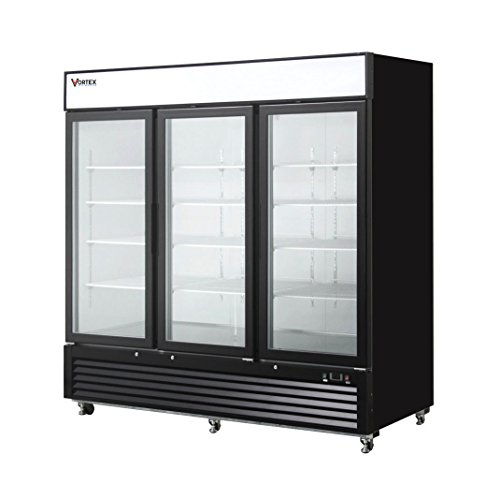 Commercial Grade Merchandiser Freezer by Vortex Refrigeration | 3 Self-Closing Doors | Fog Resistant Glass | 72 Cu. Ft. | 12 Adjustable Shelves | for Restaurants | 82