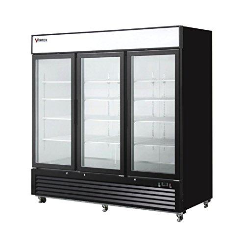 (Commercial Grade Merchandiser Freezer by Vortex Refrigeration | 3 Self-Closing Doors | Fog Resistant Glass | 72 Cu. Ft. | 12 Adjustable Shelves | for Restaurants | 82