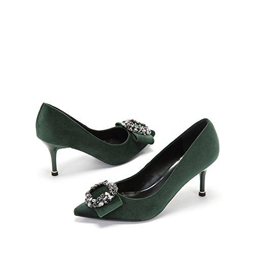 Frau mit Drill-Schuhen,Stiletto Heels-B Fußlänge=23.3CM(9.2Inch)