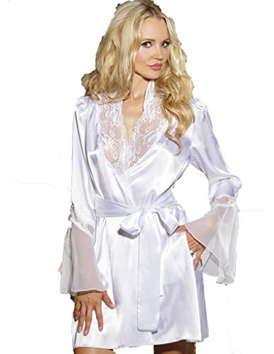 (Shirley of Hollywood Lace and Chiffon Robe - White L )