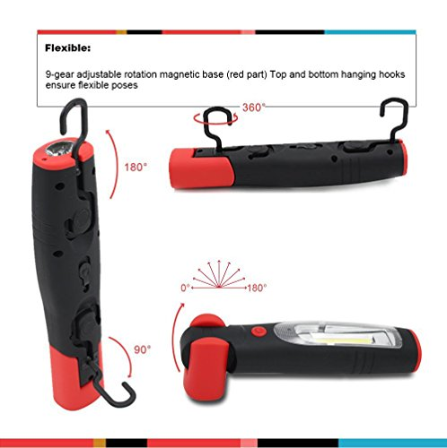 Portable Rechargeable LED Work Light/Flashlight, Spotlight+Floodlight, UL-listed power supply + Car charger, Dual Magnetic Base & Hanging Hook for camping Car Repairing Workshop Emergency Lighting RWL-03 by TORCHSTAR (Image #4)