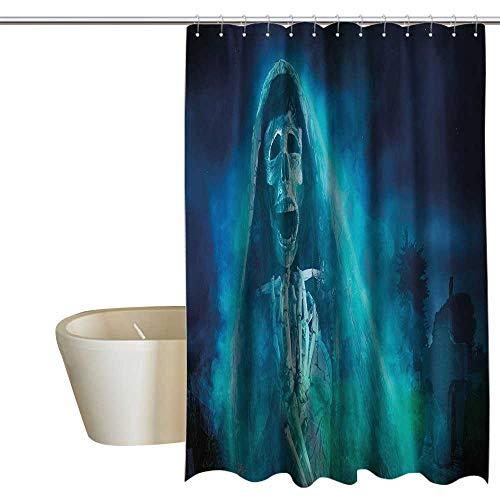 EwaskyOnline Skull Decorations Flower Shower Curtain Gothic Dark Background with a Dead Ghost Skull Skeleton Mystical Haunted Horror Halloween Theme Shower Curtain bar W72 x L72 -