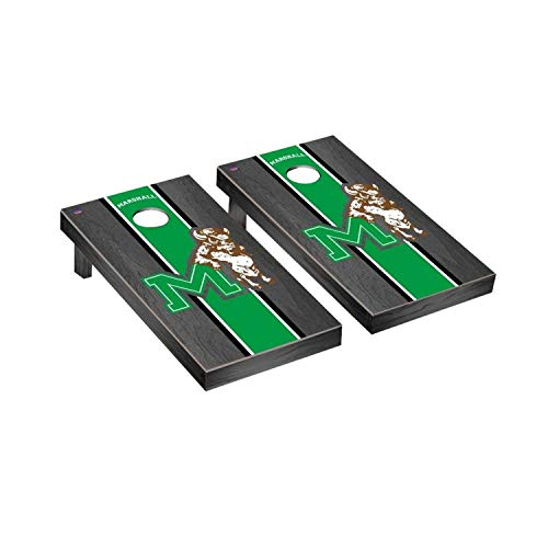 Victory Tailgate Marshall Thundering Herd NCAA College Vault Onyx Stained Stripe Cornhole Board Set - 2 Boards, 8 Bags