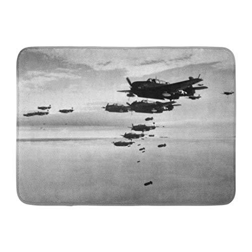 Emvency Bath Mat Planes from The USS Essex Aircraft Carrier Dropping Bombs on Hokadate Japan July 1945 World War 2 Pacific Bathroom Decor Rug 16