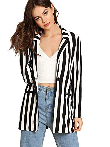 Floerns Women's Long Sleeve Open Front Striped Blazer Black and White - Blazer Jacket Striped