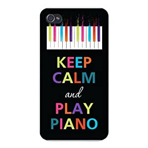 Apple Iphone Custom Case 5 / 5s White Plastic Snap on - Keep Calm and Play Piano Colorful Keys