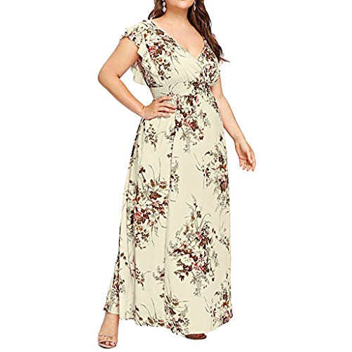 Sharemen Plus Size Sun Dress Empire Waist Wrap V Neck Floral Print Boho Chiffon Sleeveless Party Maxi Dress(Yellow,5XL) ()