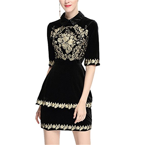WalterTi Women Dress Vintage Embroidery Short Sleeve Slim Velvet Dresses Vestidos Ladies Turn-Down Collar Dress Black XL