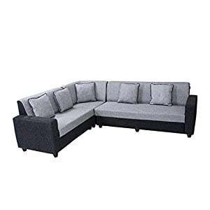 Bharat Lifestyle Cosmo Plus Fabric L Shape Acacia Wood Sofa - 3 Seater + 2 Seater + 1 Corner Sofa (Black Grey)